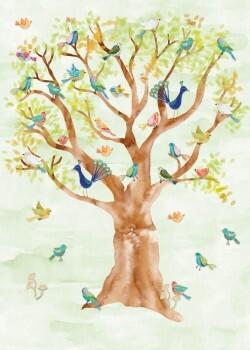 Wandbild Baum Vögel Grün Vlies