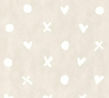Tapete Beige Zeichen Herz Punkt Kreuz