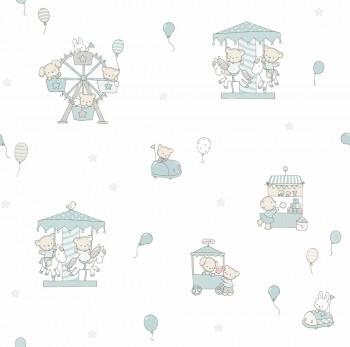 Tapete Tiere Ballons Graublau-Weiß Lullaby