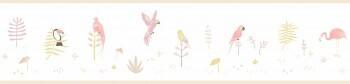 Weiß Borte Vögel Pink Matt