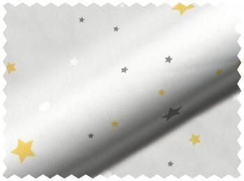 Weiß Stoff Sterne Gelb Blickdicht