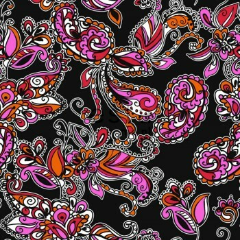 Vliestapete Funky Blumen Paisleys Schwarz Rot