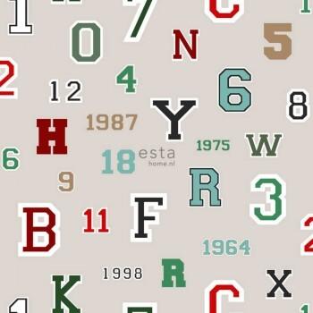 Tapete Vlies Hell-Grau Zahlen Buchstaben